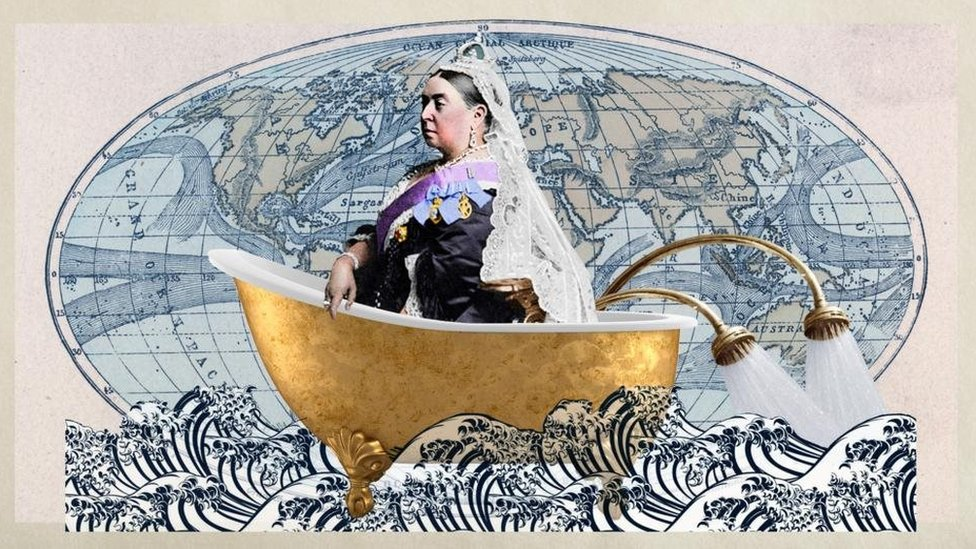 Illustration with Queen Victoria in a bathtub with an old world map in the background