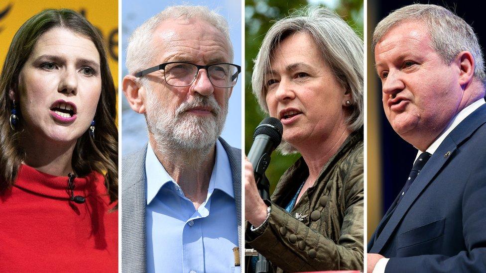Jo Swinson, Jeremy Corbyn, Liz Saville Roberts and Ian Blackford
