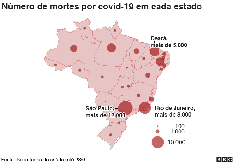 infográfico mostra casos por estado