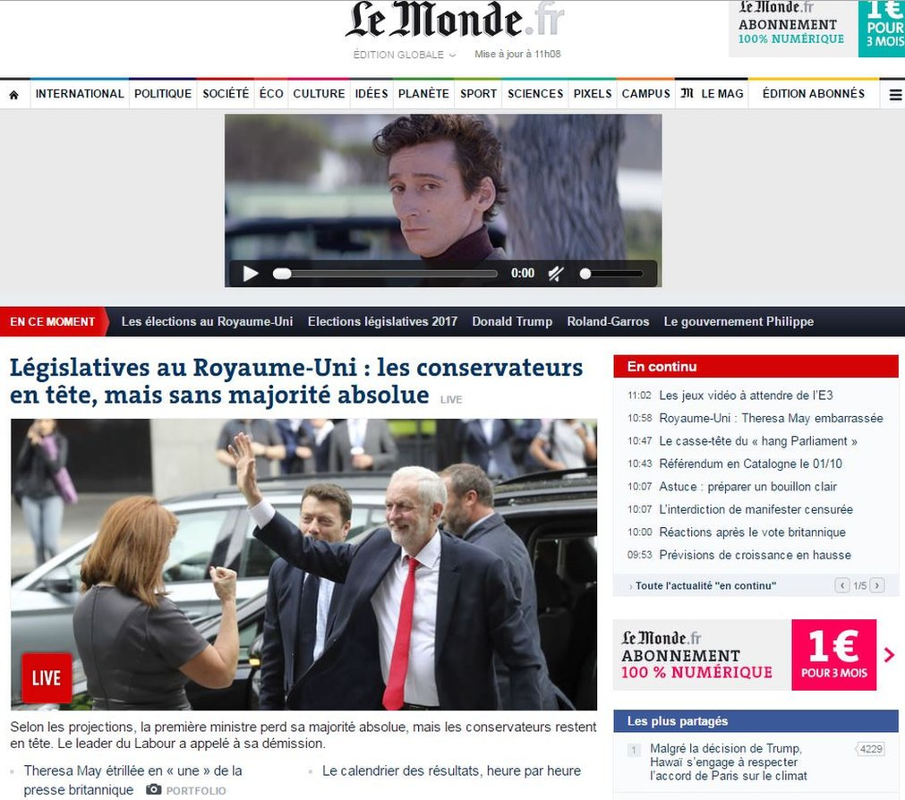 Le Monde online ran a picture of a beaming Jeremy Corbyn, Theresa May's Labour rival, waving