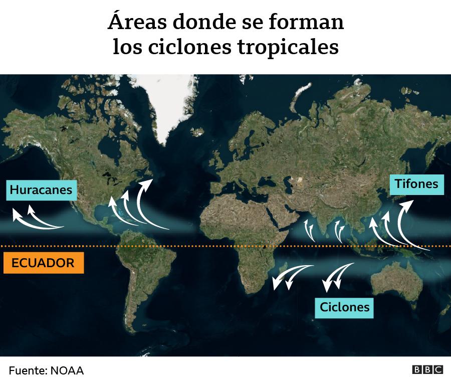 Áreas donde se forman ciclones tropicales