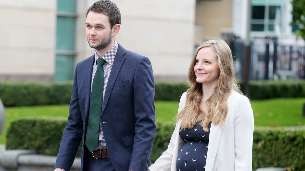 Daniel and Amy McArthur outside the court