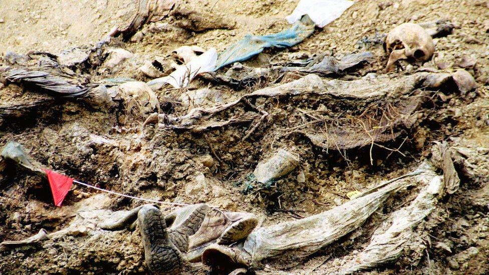 A mass grave for victims of the Srebrenica massacre