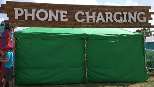 Phone charging unit at Wilderness festival
