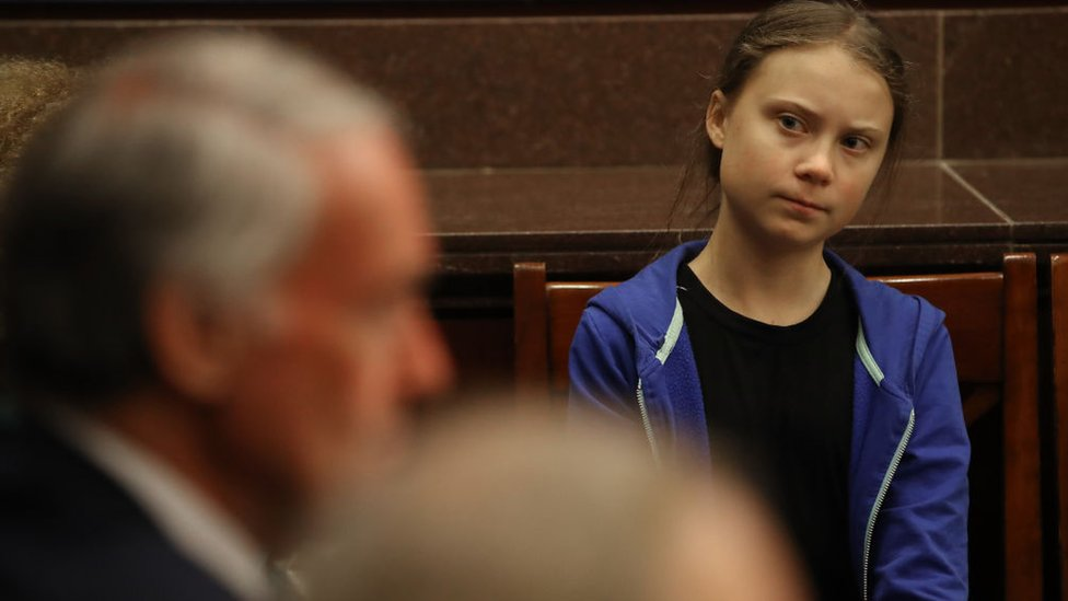 Greta Thunberg attends a Senate Climate Change Task Force meeting on Capitol Hil