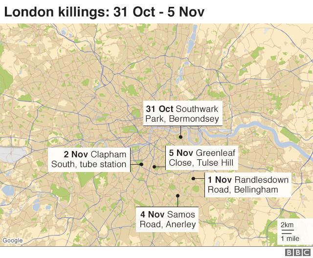 Map: London murders since 31 Oct