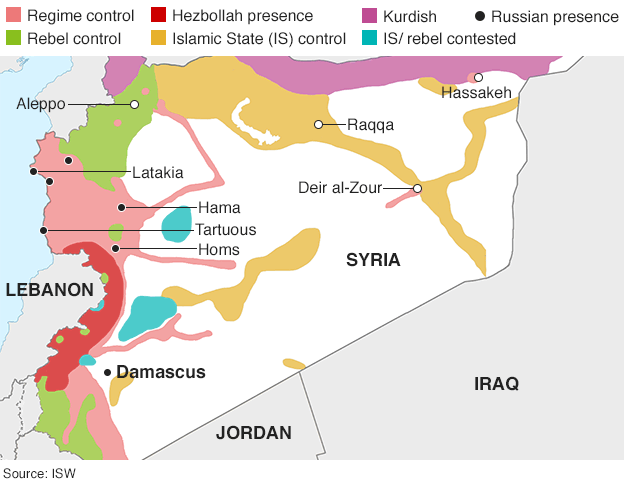 Map of Syria showing control by warring parties (28 September 2015)