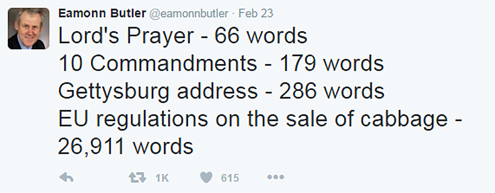 Eamonn Butler's tweet of the list: Lord's prayer - 66 words, 10 Commandments - 179 words, Gettysburg address - 286 words, EU regulations on the sale of cabbage - 26,911 words