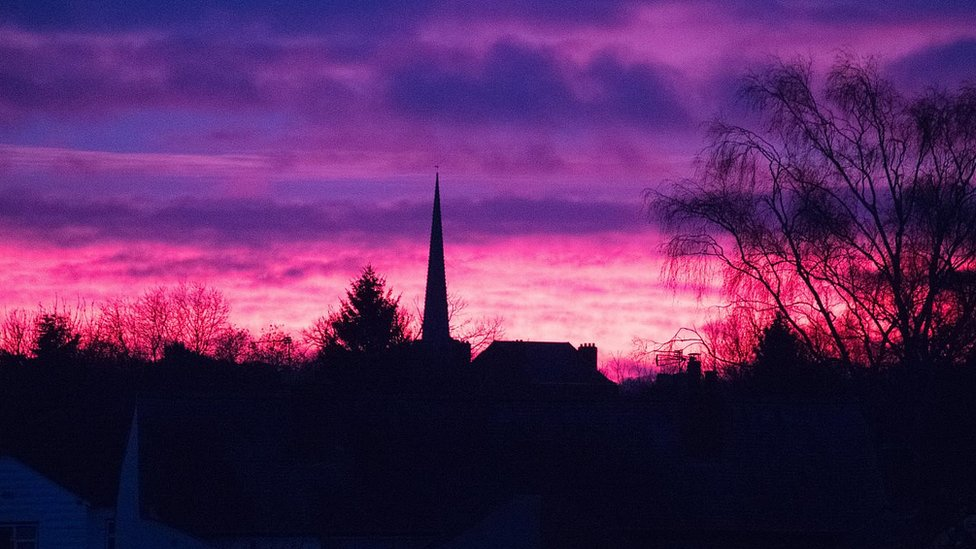 Purple skies seen across England with sunrises