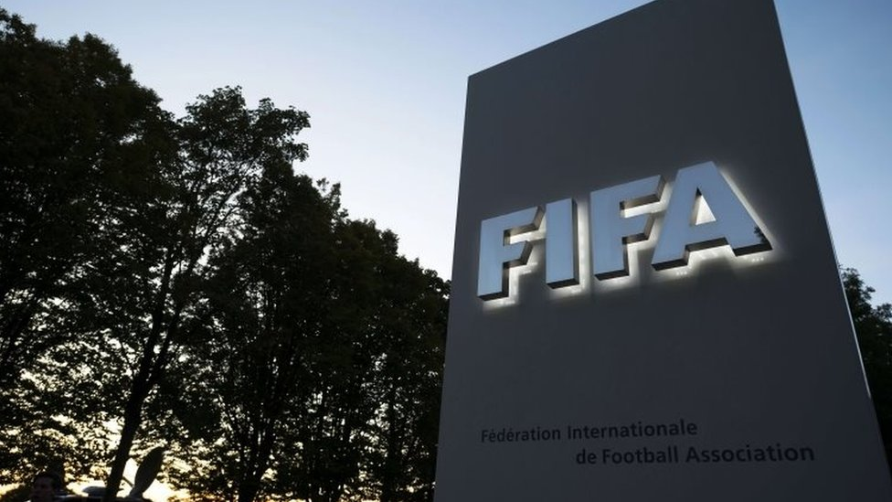 The entrance sign to the Fifa world football governing body's headquarters in Zurich (15 September 2015)