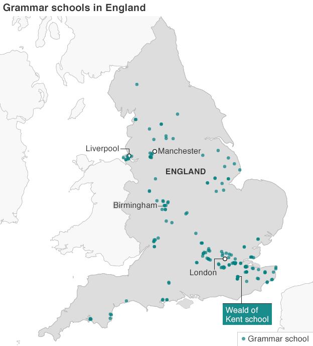 map of grammar schools