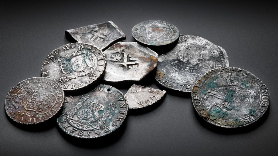A selection of coins found in the wreck of the Rooswijk