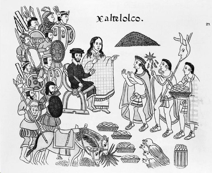 La Malinche junto a Hernán Cortes en un códice