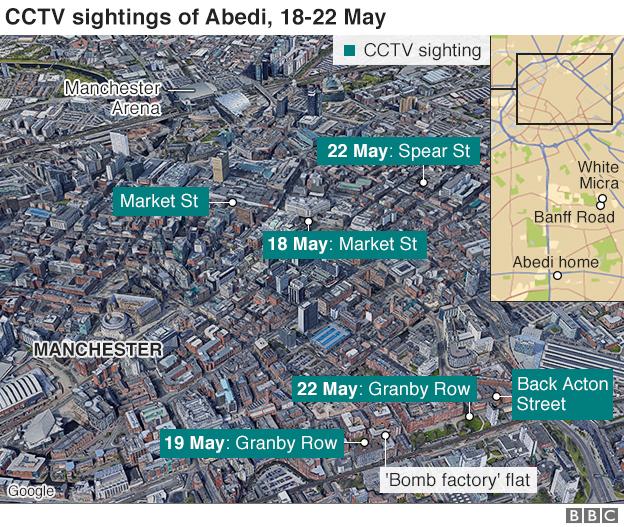 Map showing cctv sightings to Abedi