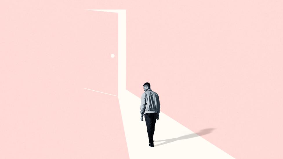 Graphic of a man walking through an open door
