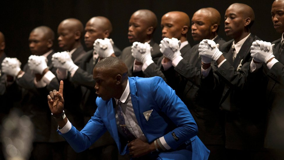 Members of a Zulu male voice choir performing in Durban, South Africa - Saturday 24 September 2016