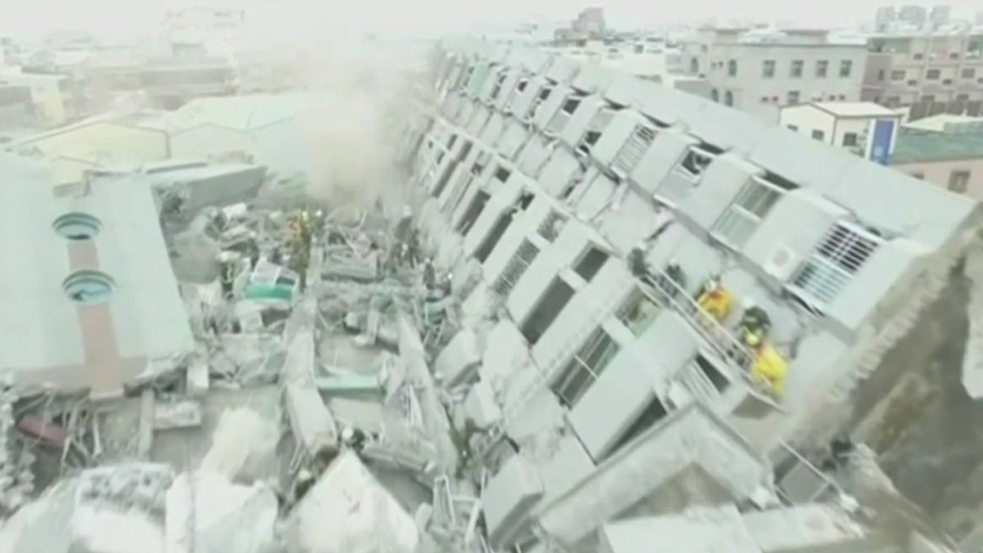 Building complex lying on its side from magnitude 6.4 earthquake that struck Tainan City in February 2016