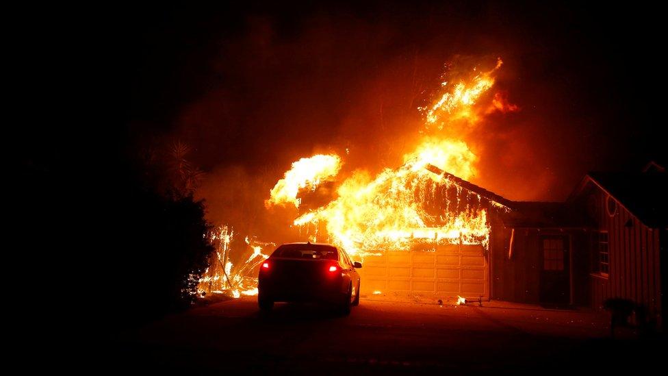 The Woolsey Fire burns in Malibu, California