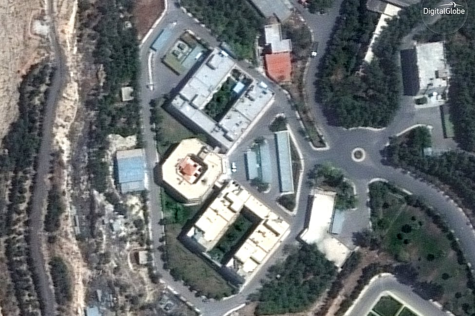Aerial view of the Barzah site before attack