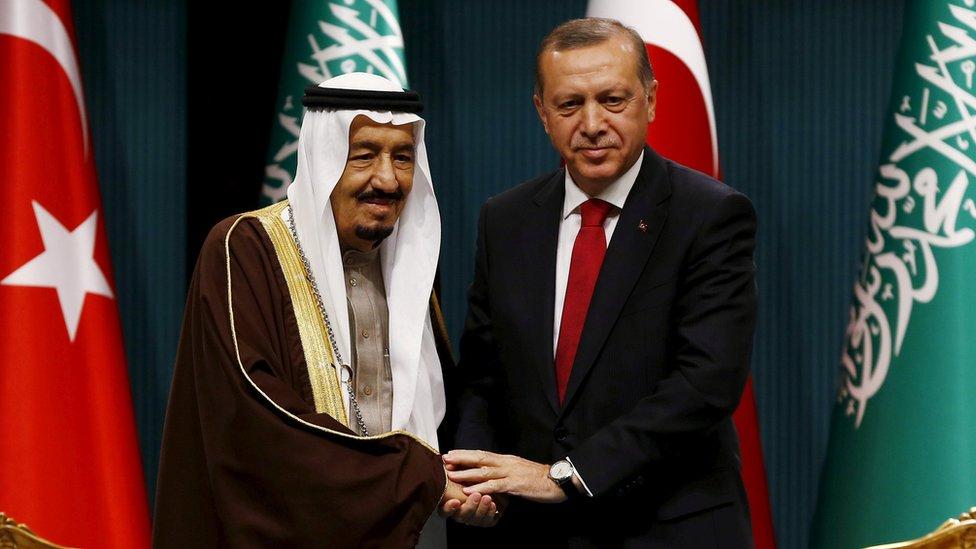 Saudi King Salman and Turkish President Erdogan in Ankara in April 2016