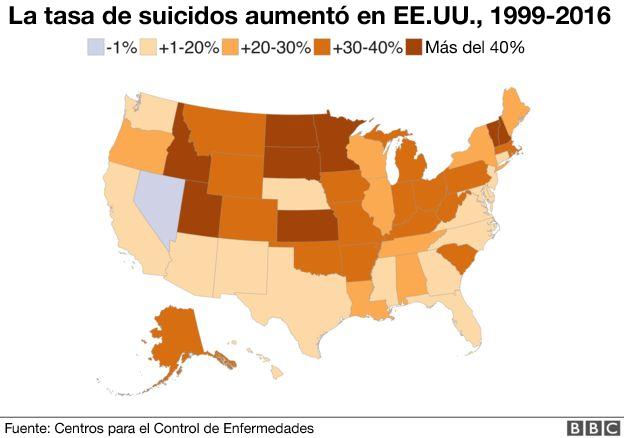 Mapa de suicidios en EEUU