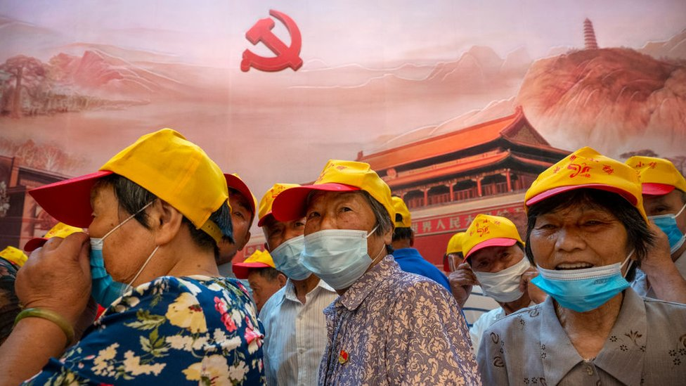 Visitors walk inside of the Memorial of the First National Congress of the Communist Party of China, on June 17, 2021 in Shanghai, China.