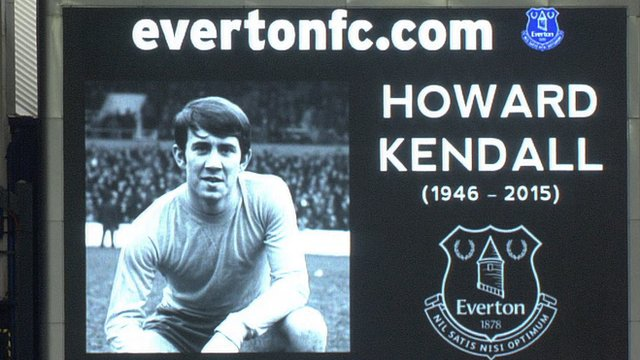 Goodison Park pays tribute to former Everton manager Howard Kendall