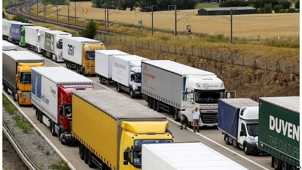 Lorries parked on the M20 in 2015 during hold-ups due to French strikes