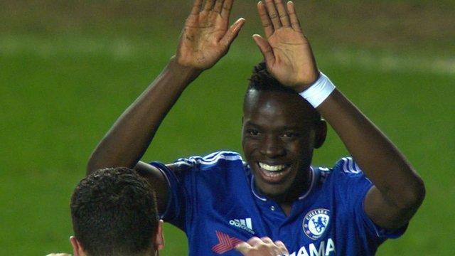 Bertrand Traore celebrates having scored for Chelsea