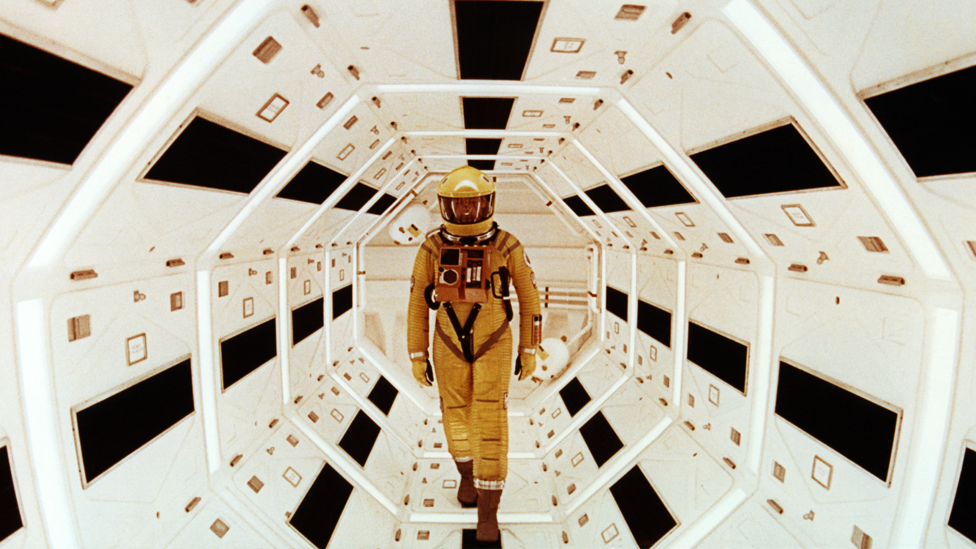 US actor Gary Lockwood on the set of 2001: A Space Odyssey, which was written and directed by Stanley Kubrick