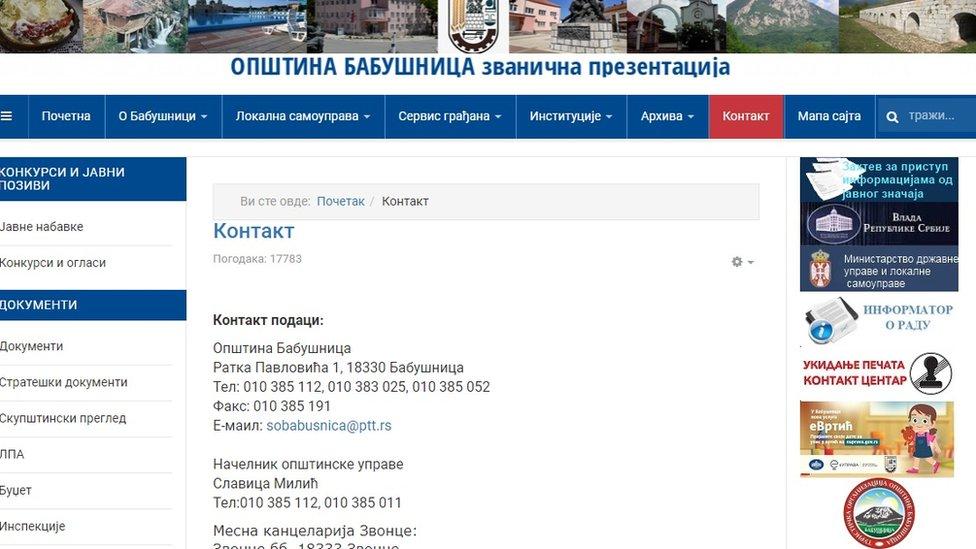 Skrinšot veb stranice opštine Babušnica