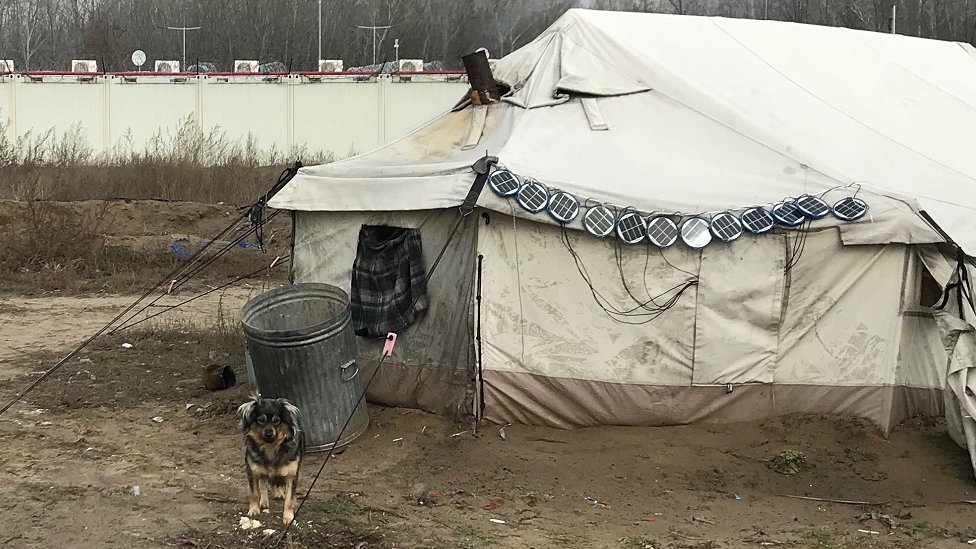 Jedan od šatora na granici sa Mađarskom