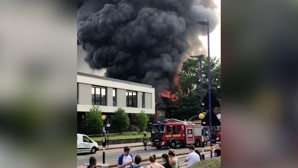 Fire at the Cadbury Club in Bournville, Birmingham