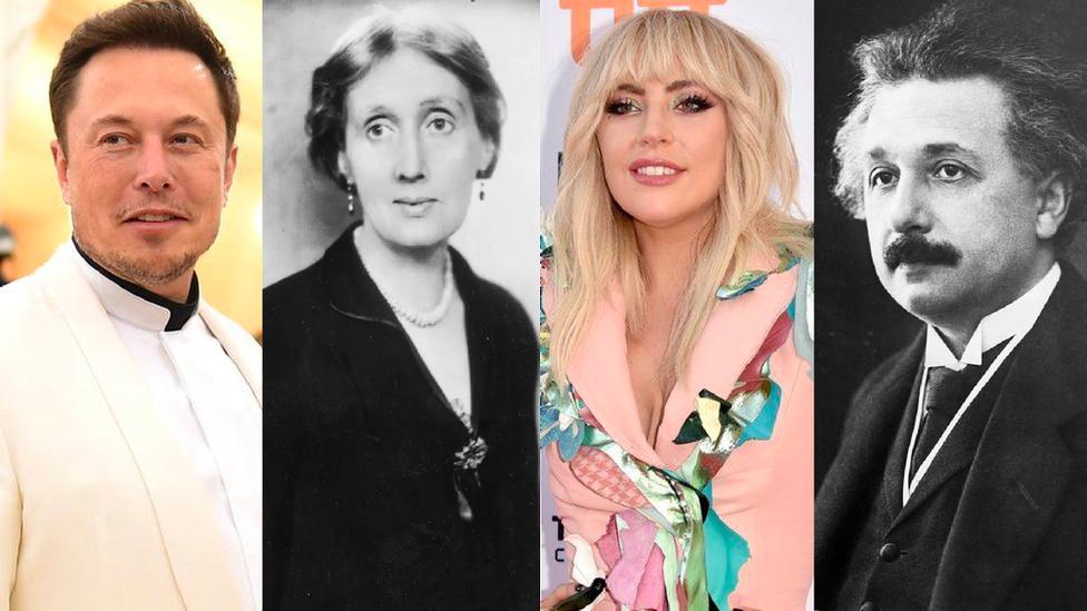 Elon Musk, Virginia Woolf, Lady Gaga y Albert Einstein