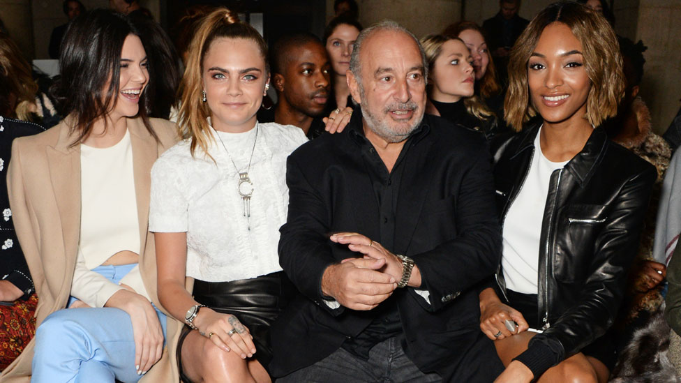 Philip Green with Kendall Jenner, Cara Delevingne and Jourdan Dunn at London Fashion Week 2015