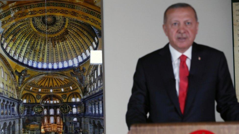 اردوغان وصورة ايا صوفيا