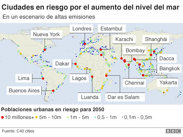 Ciudades en riesgo por el aumento en el nivel del mar para 2050 en un escenario de altas emisiones
