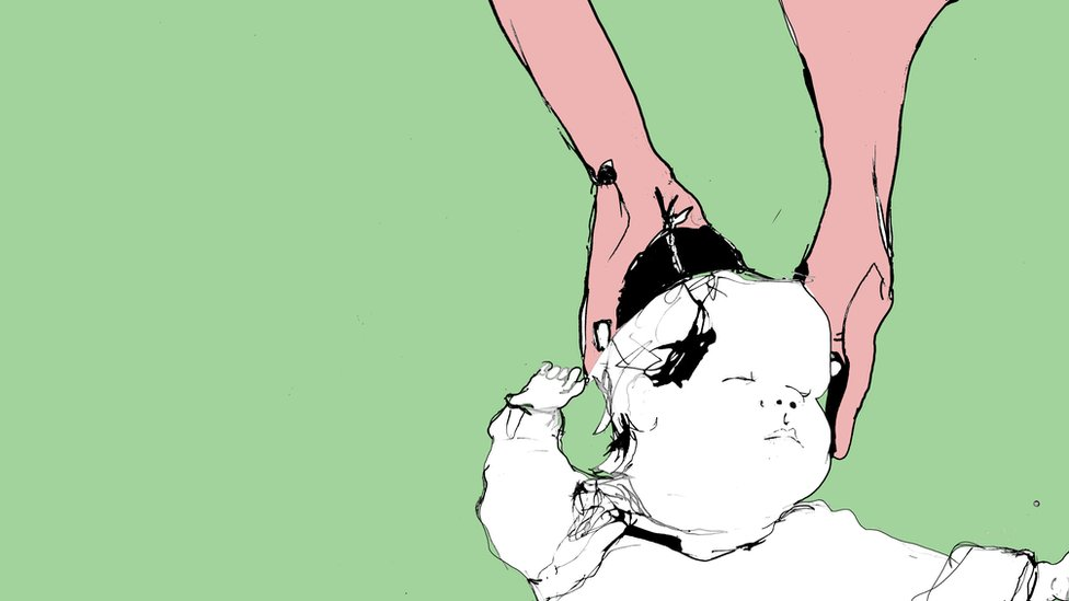 Ilustración de una mamá y una bebé