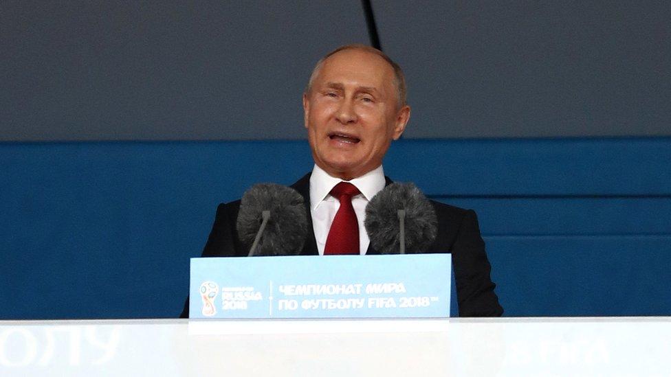 """""""Rusia es un país abierto"""", aseguró Putin en su discurso durante la inauguración del Mundial en Moscú."""