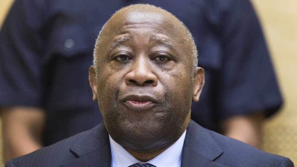 Former Ivory Coast President Laurent Gbagbo pictured during a pre-trial hearing at the Hague