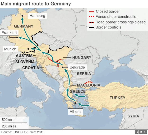 Map showing migrant route to Germany