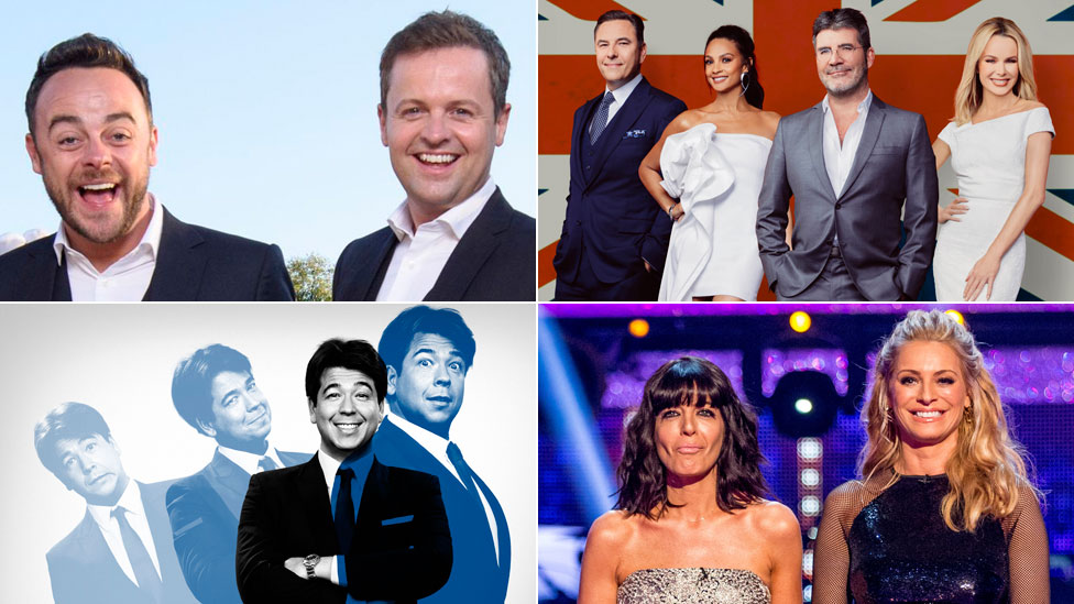 Clockwise from top left: Ant and Dec's Saturday Night Takeaway; Britain's Got Talent; Strictly Come Dancing; Michael McIntyre's Big Show