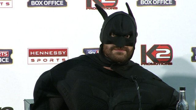 British heavyweight boxer Tyson Fury dressed as Batman