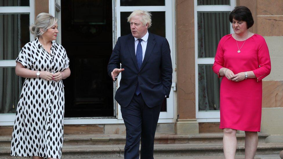 Boris Johnson is meeting Arlene Foster and Michelle O'Neill