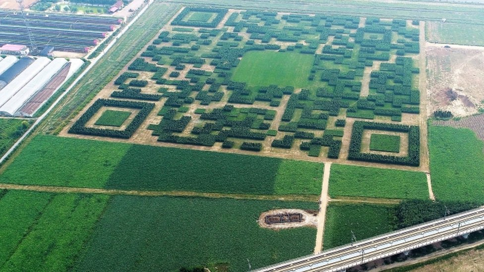 Giant QR Code in a field, in Xilinshui Village of Baoding, China