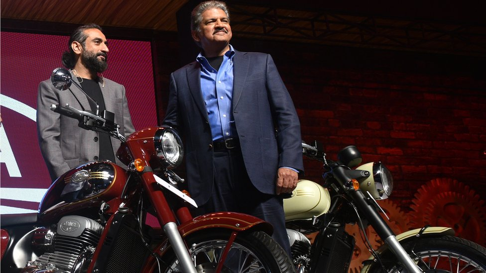 Anand Mahindra (right) with Anupam Thareja, the co-founder of Classic Legends.