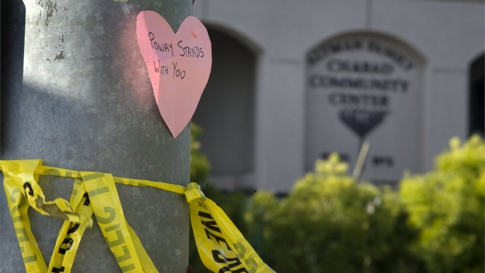 A message of support outside the Chabad synagogue near San Diego