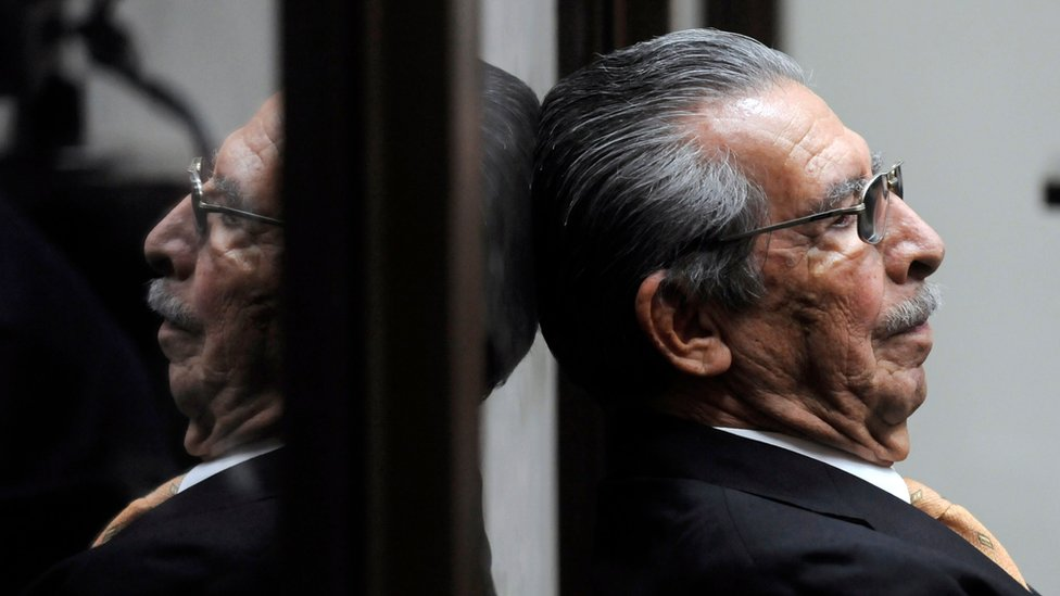 Efrain Rios Montt sits during a court hearing in Guatemala City in 2013