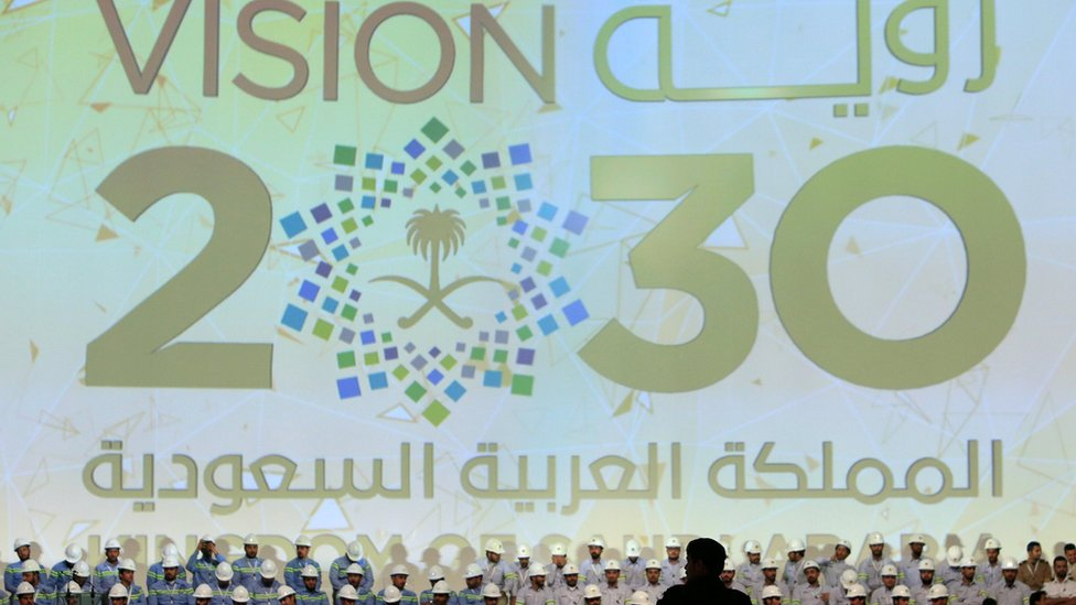 A large banner shows Saudi Vision for 2030