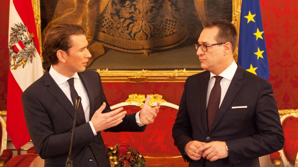 Leader of Austria's conservative People's Party (OeVP), Sebastian Kurz (L) and the Chairman of the Freedom Party (FPOe), Heinz-Christian Strache give a press conference after talks at the Hofburg in Vienna, 16 December 2017.